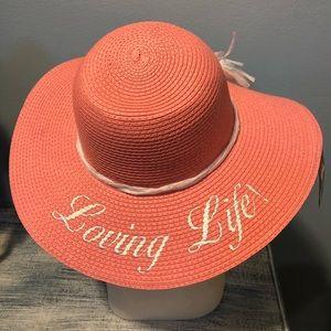 UPF50 paper braid straw 'loving life' floppy hat